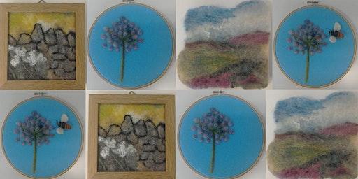 Beginner's Needle Felting - Flower / Landscape Hoop