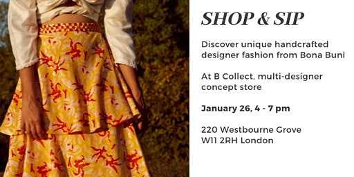 Shop and Sip - browse unique handcrafted dresses with drinks and nibbles
