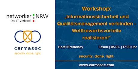"""Workshop """"Informationssicherheit und Qualitätsmanagement - Wettbewerbsvorteile realisieren!"""" Tickets"""