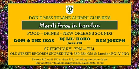 Tulane Alumni's Mardi Gras in London tickets