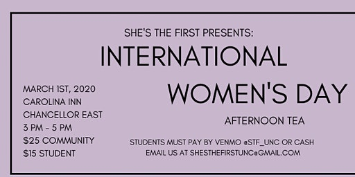 She's The First Annual International Women's Day Tea at the Carolina Inn
