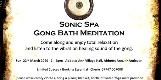 Sonic Spa Gong Bath Meditation - 22nd March 2020