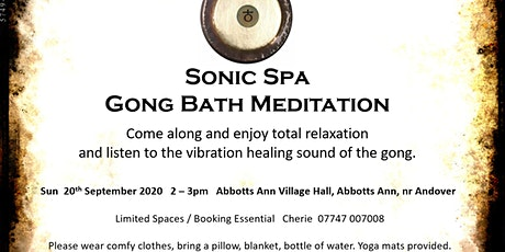 Sonic Spa Gong Bath Meditation - 20th September 2020 tickets