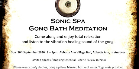 Sonic Spa Gong Bath Meditation - 18th October 2020 tickets