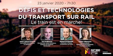 Mat'inno : Défis et technologies  du transport sur rail billets
