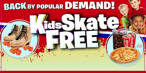 Kids Skate Free on Monday 1/20/20 at 1:00pm (with this ticket)