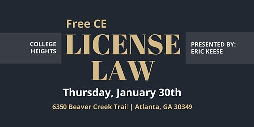 FREE CE | LICENSE LAW AT COLLEGE HEIGHTS