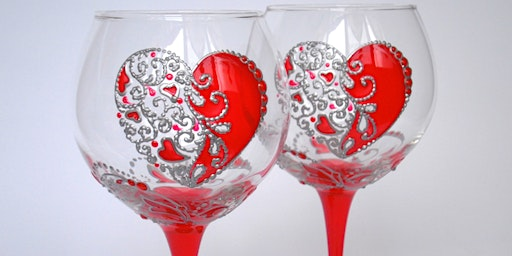 Valentines Day Wine Glass Painting