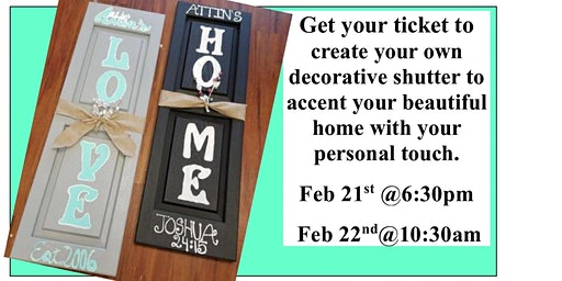Craft Paint Night- Create Your Own Shutter