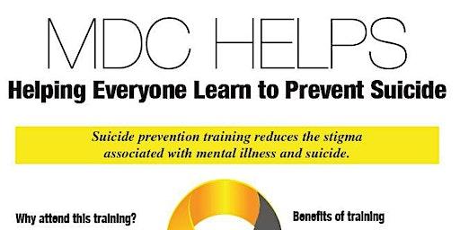 MDC Helps - Suicide Prevention Training - via Q.P.R.