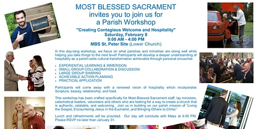"""A PARISH WORKSHOP - """"Creating Contagious Welcome and Hospitality"""""""