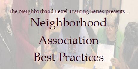 Neighborhood Association Best Practices tickets