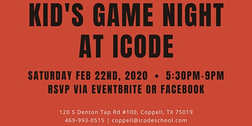 Kid's Game Night at iCode Coppell