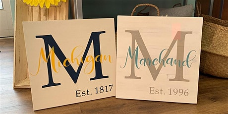 Monogram Paint Party Wood Sign tickets