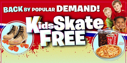 Kids Skate Free Sunday 1/19/2020  at 1pm (with this ticket)