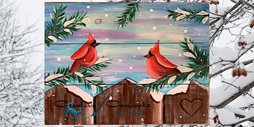 Cardinal Canvas or Slate Paint Night