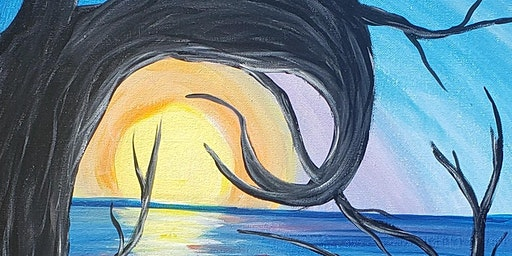 Ready for a peaceful vision! Join us for this Moonlight Waters painting