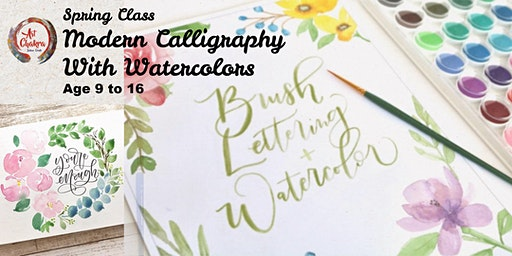 Modern Calligraphy With Watercolors (Age 9 to 16)