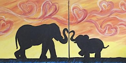 Mommy/Daddy and Me elephants painting