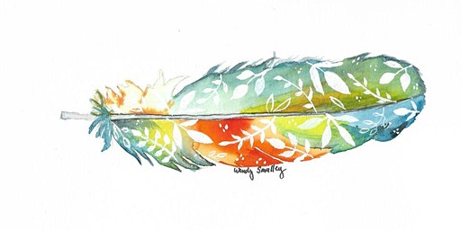 Floral  Feather - Watercolor Painting