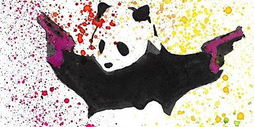 Banksy Inspired Panda Shooting Rainbows