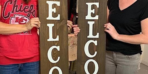Wine & Wood - Welcome SIGN - BYOB