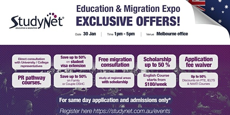 StudyNet Education and Migration Expo in Melbourne tickets