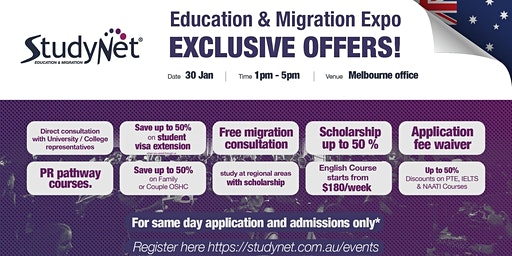 StudyNet Education and Migration Expo in Melbourne