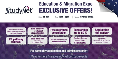 StudyNet Education and Migration Expo in Sydney tickets