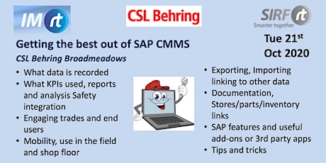 VICTAS Getting the best out of SAP CMMS - CSL Behring Broadmeadows tickets