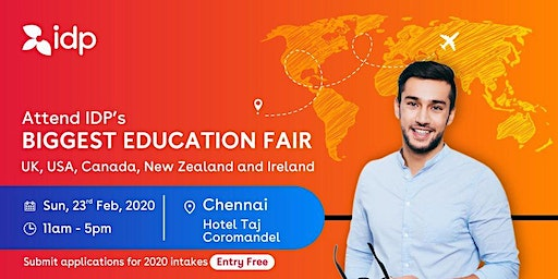 Attend IDP's Education Fair for UK, USA, Canada, NZ & Ireland in Chennai