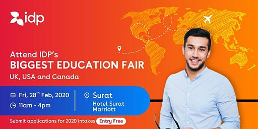 Attend IDP's Education Fair for UK, USA, Canada, NZ & Ireland in Surat