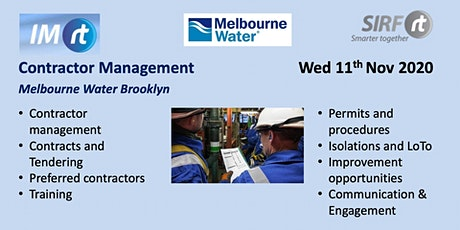 VICTAS IMrt CIWG & Site Tour, Contractor management, Melbourne Water Brooklyn tickets