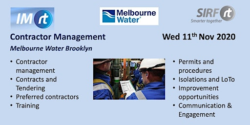 VICTAS IMrt CIWG & Site Tour, Contractor management, Melbourne Water Brooklyn