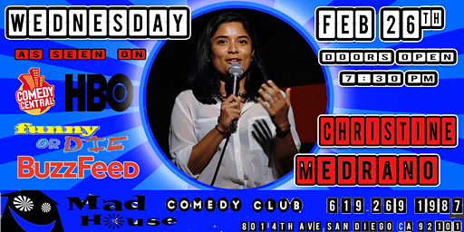 Christine Medrano as seen on Comedy Central, Funny or Die, HBO, Buzzfeed!