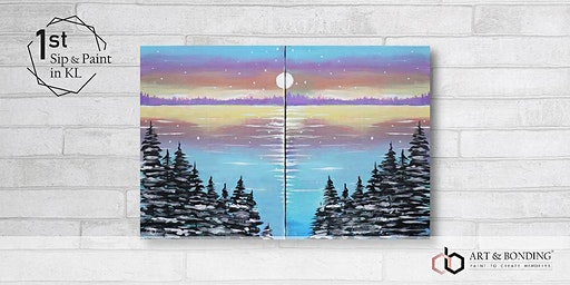 Sunday Sip & Paint : Jigsaw Puzzle Painting - Pastel Lake