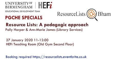 Resource Lists: A pedagogic approach tickets