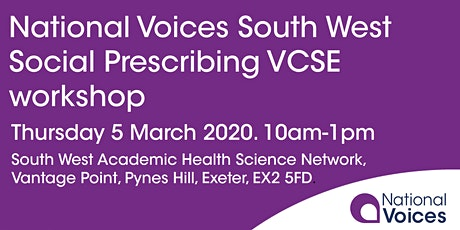 National Voices South West Social Prescribing VCSE workshop tickets