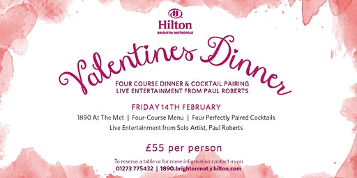 Valentine's Four- Course Dinner with Cocktail Pairing and Entertainment