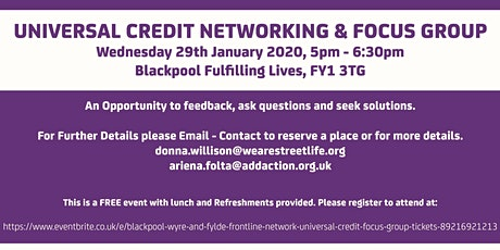 Blackpool, Wyre and Fylde Frontline Network Universal Credit Focus Group tickets