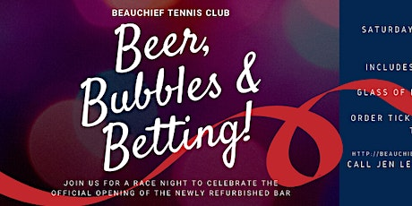 Beer, Bubbles & Betting! Race Night to celebrate the opening of the new bar tickets