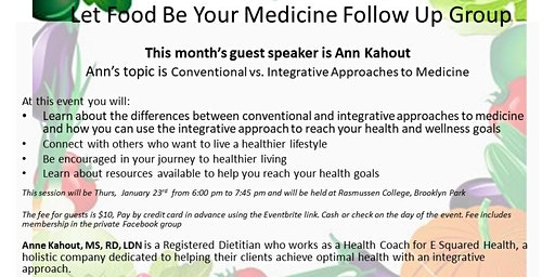 1-23-20 Let Food Be Your Medicine Follow Up Group