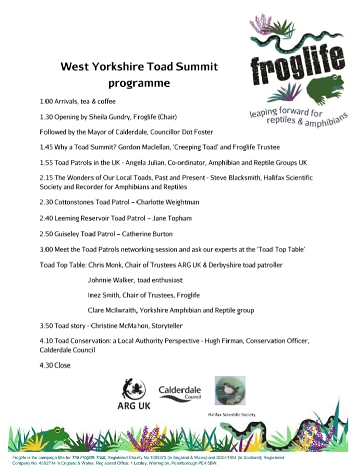 West Yorkshire Toad Summit image