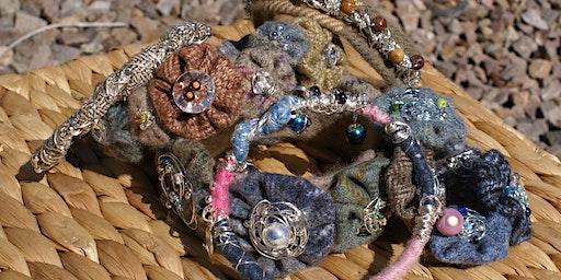 Design a wire and textile bracelet