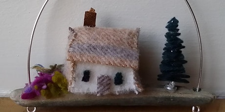 Create a Christmas keepsake using driftwood textiles and wire tickets