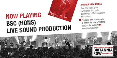 Study a Live Sound Degree with Industry Leader - Britannia Row tickets