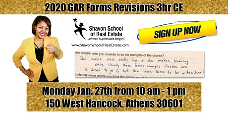 2020 GAR Forms Revisions CE Class tickets
