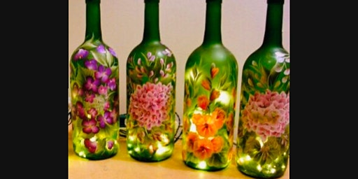 DIY Custom Wine Bottle Painting including Lights Paint and Sip