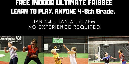 Ultimate Frisbee: FREE Drop-in 4-8th Grade. Indoor turf.