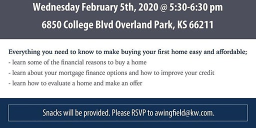 Home Buying Workshop  Date of event changed to Feb 5th 5.30-6.30